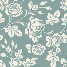 Seamless Pattern With Rose Sil...