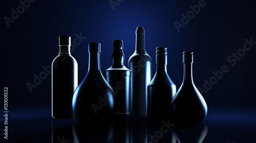 Tela Stylish black background with bottles of hard liquor luxury for