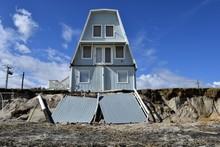 Beach Erosion And Damage Caused By Hurricane Matthew Hitting Along The East Coast Of Florida, USA.