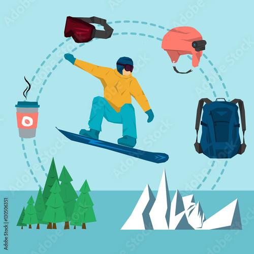 Staande foto Kinderkamer Vector flat set snowboarding sport