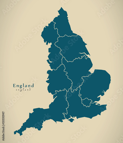 Fotografía Modern Map - England with counties UK Illustration