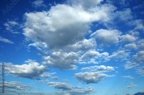 Fotografie, Obraz  Autumn Blue sky and cumulus clouds Photo partially tinted.