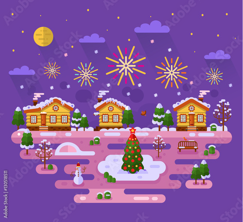 Foto op Aluminium Snoeien Flat design vector nature winter landscape illustration with sky full of firework lights, cartoon fairytale houses, Christmas tree on ice, snowman, bench, mountain. Merry Christmas concept.