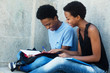 canvas print picture - Learning african american student couple