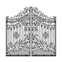 Beautiful Iron Ornament Gates. Black On White