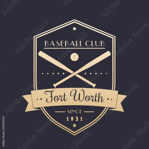 Baseball vintage emblem, logo, badge, gold on dark, vector illustration Poster