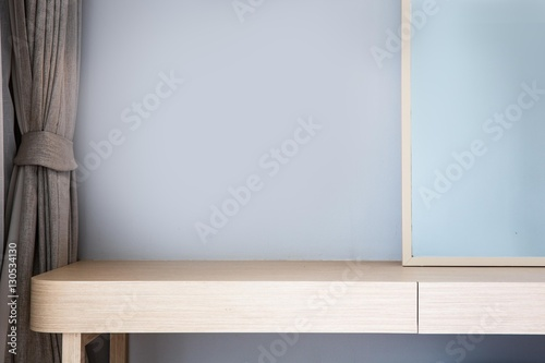 Fotografie, Tablou Modern wooden dressing table top in bed room, Interior of a modern house