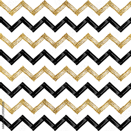 Seamless Pattern Of Black Gold Zigzag Chevron Golden And
