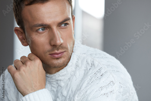 Fotografie, Obraz  Portrait Of Handsome Young Man With Beautiful Face, Soft Skin