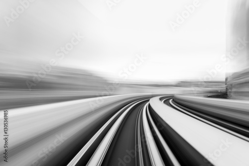 fototapeta na drzwi i meble Speed motion in urban highway road tunnel