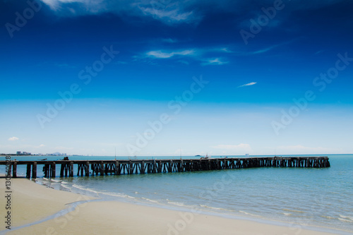 Foto auf Acrylglas Tropical strand Beautiful sea blue sky jetty with soft focus. Feeling happy