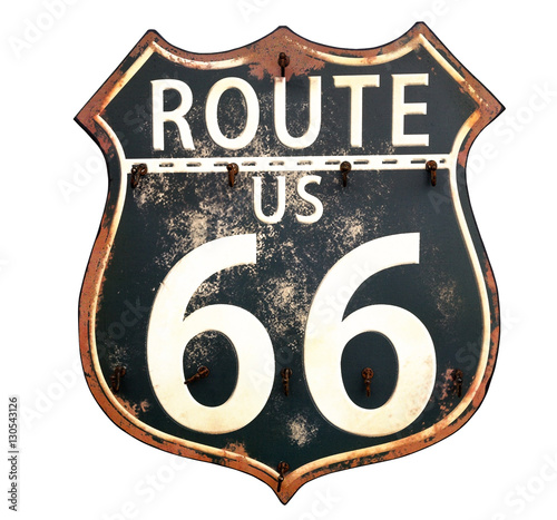 Isolated rusty Route 66 sign.. Canvas Print