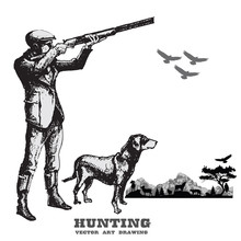 Hunting With Dog.Hand Drawn Vector.