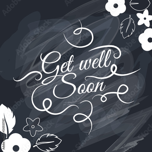 Valokuvatapetti Get well soon Vector text background, creative color pattern.