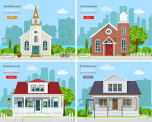 Set With Modern Church Buildin...