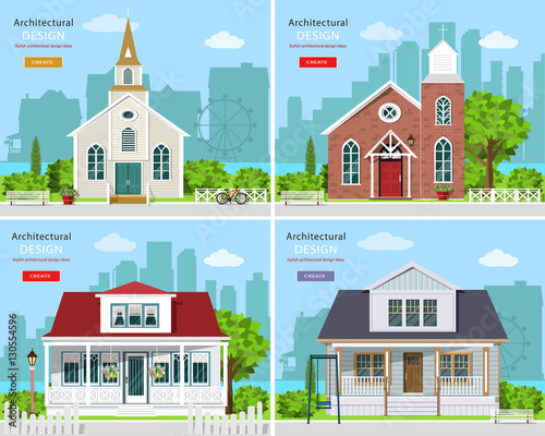 Set with modern church buildings and private houses  Cute houses