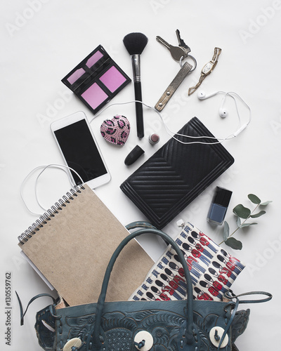 High angle view of accessories on white background