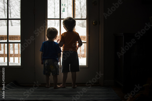 Rear view of brothers looking through window while standing at home