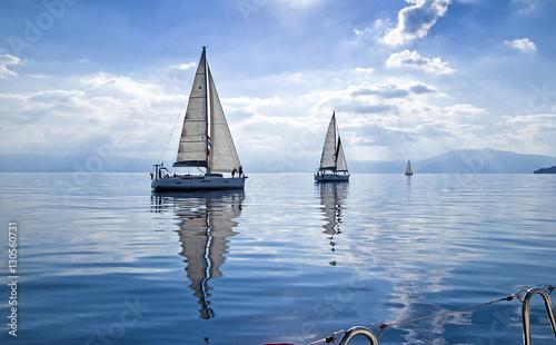 Sun Rays/Race in the calm during the regatta in the  mediterranean