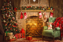 Christmas Room With Fireplace,...