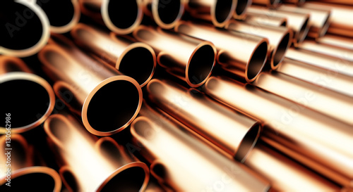 Leinwand Poster copper metal pipe on white background. 3d Illustrations