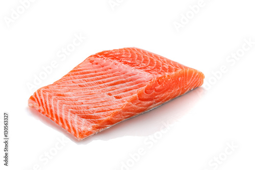 Canvas Print Fresh salmon fillet isolated on white backgrund