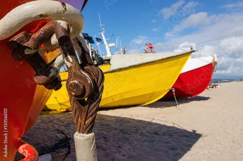 Kolorowe łodzie rybackie w Chłopach Canvas Print