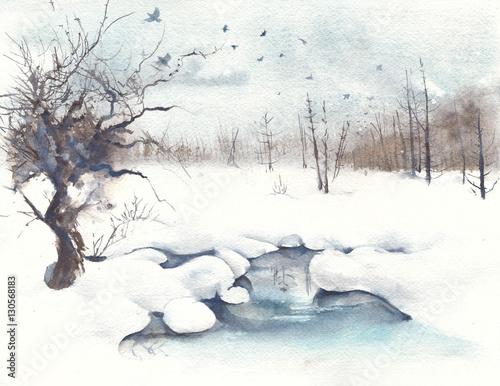 Zimowa krajobrazowa lasowa wiosny akwareli obrazu ilustracja