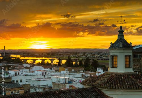 A sunset over Badajoz city, Extremadura