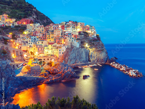 Aerial night view of Manarola fishing village, seascape in Five lands, Cinque Terre National Park, Liguria, Italy Canvas
