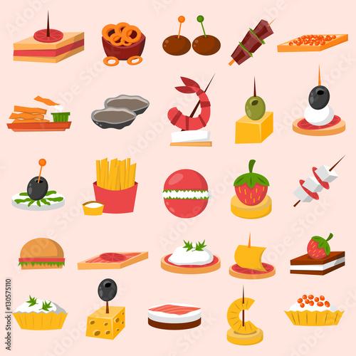 Photo Canape snacks appetizer vector set.