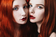 Beauty portrait of two red-haired girl on the black and red background. Two lesbian women. Long red hair. Love between girls.