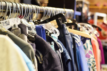 Racks Of Winter Clothing And Coats