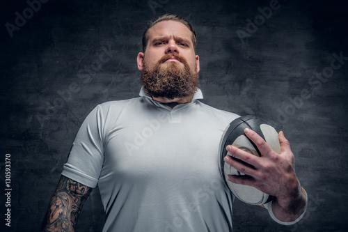 Plakat Brodaty gracz rugby.