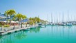 Nouméa New Caledonia Port Moselle Marina Waterfront with Restaurants Facing Turquoise Sea Water Filled with Recreational Boats and Yachts