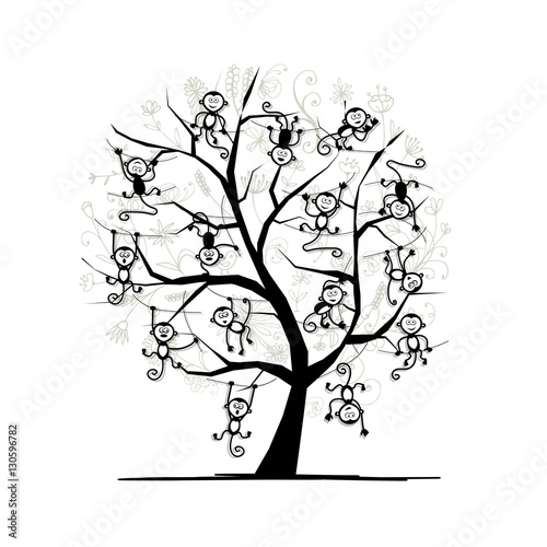 Monkey Tree For Your Design Symbol Of 2016 Year Buy This Stock