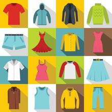 Different Clothes Icons Set. Flat Illustration Of 16 Different Clothes Items Vector Icons For Web