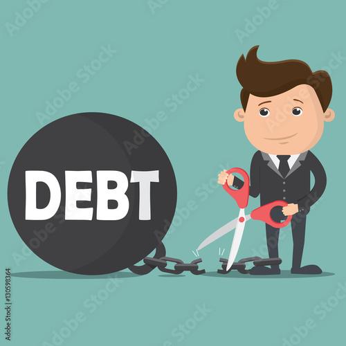 Fotografía  Business man cutting debt burden , Business concept - vector illustration