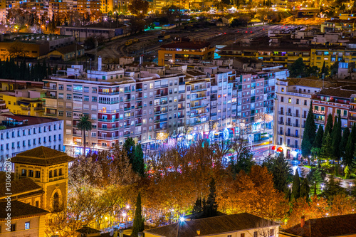 Foto op Canvas Texas night aerial view of the spanish city granada