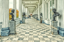 The Busts Of Cameron Gallery In The Catherine Park In Tsarskoye Selo (Pushkin).