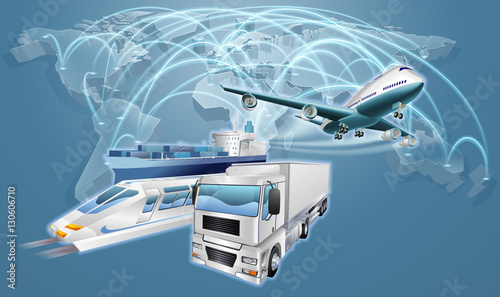 Fényképezés  Logistics Concept World Trade Map