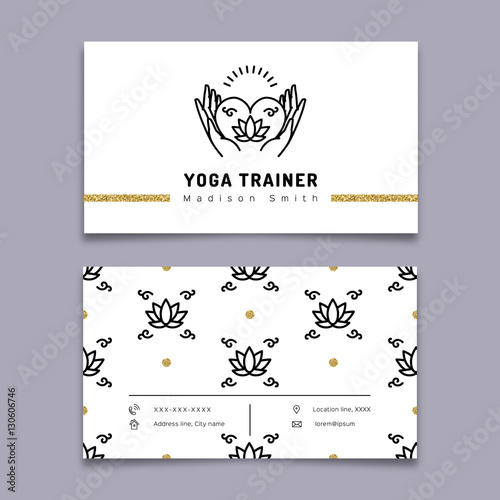Vector yoga trainer business card template yoga outline icon and vector yoga trainer business card template yoga outline icon and thin line art pictogram colourmoves