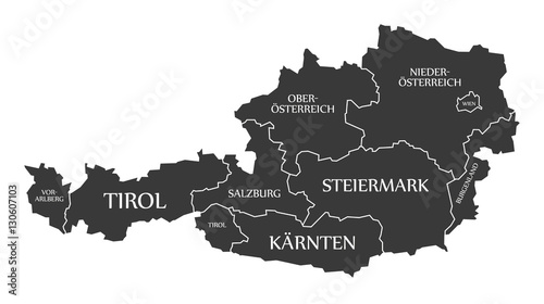 Fotografie, Obraz Austria Map with states and labelled black