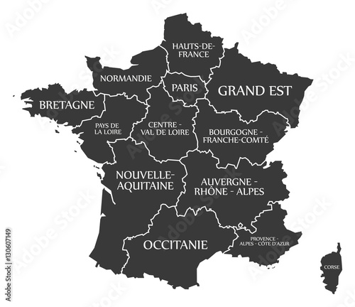 Photo France Map labelled black