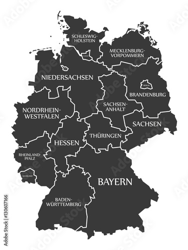 Fototapeta Germany Map labelled black