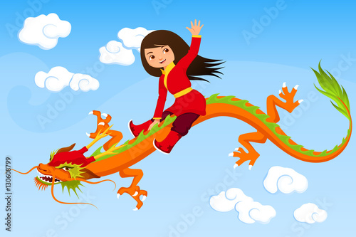 cute Asian girl riding a dragon