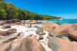 Granite cliffs on Anse Lazio beach at Praslin island, Seychelles