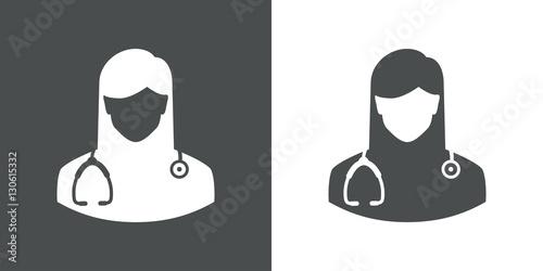 Icono plano silueta doctora gris y blanco