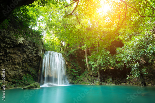Foto op Canvas Watervallen Erawan Waterfall is a beautiful waterfall in spring forest in Ka