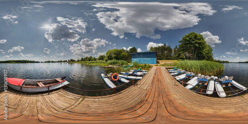 Fotografia  Boat station on the lake on a sunny day. Full 360 degree panoram